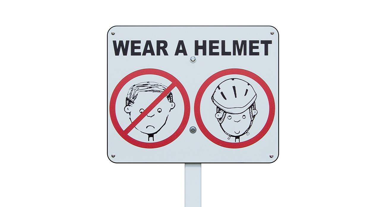 Sign - Wear a Helmet Safety - Playworks